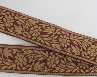 3 yards FLORAL CAMEO embroidered Jacquard trim Tan on Deep Cardinal red. 1 1/8 inch wide. 998-C