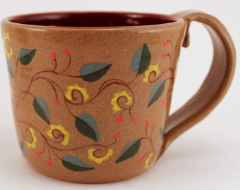 Stoneware Pottery Mug Wheel Thrown Hand Painted Flowers Yellow Red Green OOAK Free Shipping in US