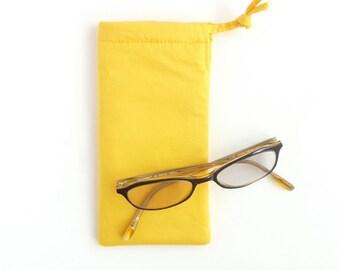sunglasses case for women. cute sunflower yellow fabric glasses pouch. sunshine ladies padded eyeglass case. drawstring bag