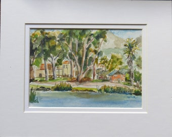Lindo Lake, Lakeside, San Diego, California, Original Watercolor signed.