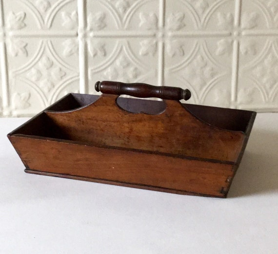 antique wood tray antique cutlery tray cherry wood from shenandoah by gardenbarn 1302
