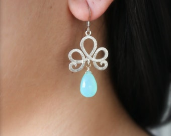 Aqua Chalcedony Mediterranean Earrings- Sterling Silver by Yania Creations Jewelry