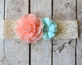 Coral Pink Peach Mint Lace Headband, Toddler Lace headband, Girls, Adult , headband, Flower girl headband, Wedding headpiece