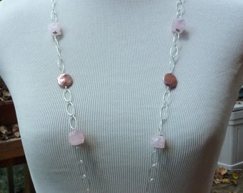 Rose Quartz & Pink Coin Pearl Necklace