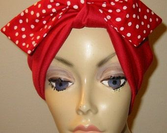 Red  Knit Turban with Bow, Chemo Hat, Snood, Womens Hat