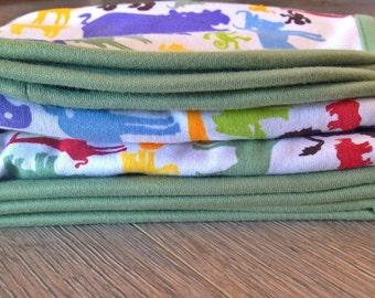 SALE - Organic Cotton Stroller Blanket, Animal Print