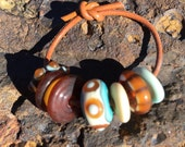 Copper Green, Amber, and Dark Ivory, Lampwork Beads SRA, handmade, glass, etched, Disks
