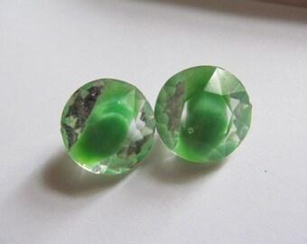 Vintage Glass Rhienstones Green Givre Faceted No Foil Back Stone Cab