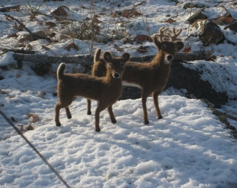 Maine Whitetail Deer Buck and Doe Needle felted Sculptures