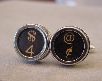 Vintage Typewriter key Cuff links - DOLLAR and CENTS Men's CuffLinks -typewriter key jewelry