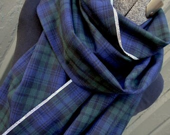Plaid scarf, tartan vegan wool, BLACK WATCH - selvedge - men unisex - eco vintage fabric
