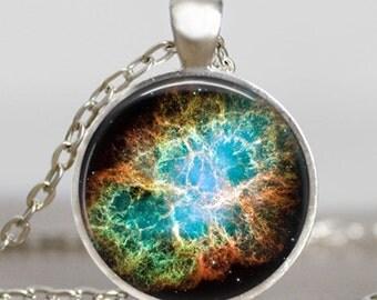 Nebula pendant  ,Nebula jewelry, Crab Nebula pendant , glass dome art necklace with gift bag