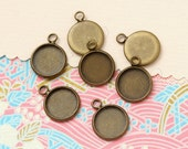 50 pcs antique bronze round base - for 12mm round cabochons. BN392E