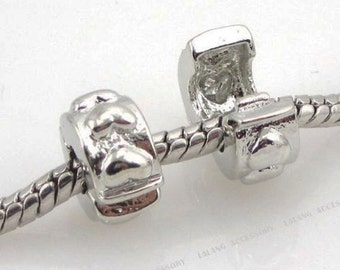 Silver Plated Bead Stoppers Hearts European Bracelet