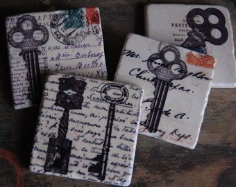 Vintage Keys - stone coasters (set of 4)