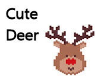 Brick Stitch Rudolph Reindeer Christmas Holiday Pattern Whimsical Cute Deer Pendant Ornament Delica Bead Pattern Digital Seed Bead Pattern