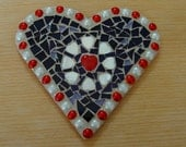 Mosaic Wallhanging With Red Glass Heart Surrounded by White Mother of Pearl Hearts
