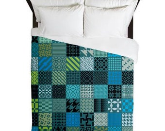 Quilt printed patchwork duvet - Blue and Green