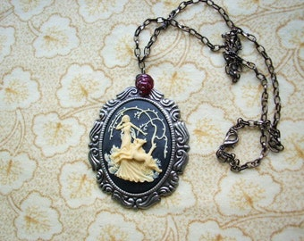 Black Cameo Necklace Lady in the Wood  in Gunmetal,Antiqued Silver