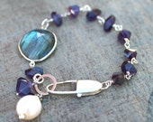 Amethyst, Labradorite Gemstones and White Freshwater Pearl Sterling Silver Wire Wrapped Bracelet