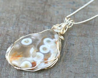 Agate Gemstone Wire Wrapped Sterling Silver Handmade Necklace, Wire Wrapped Pendant