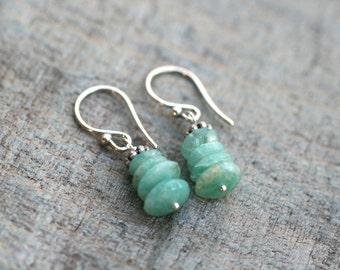 Blue Amazonite Gemstone Stacked Sterling Silver Handmade Earrings