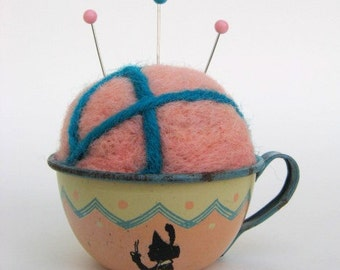 SHOP CLOSING SALE - Pin Cushion - Needle Felted - In Vintage Child's Tin Tea Cup - Peach And Blue Silhouette