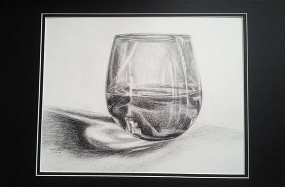 hnliche artikel wie bleistiftzeichnung wasser im glas auf whiteboard original zeichnung 15 x. Black Bedroom Furniture Sets. Home Design Ideas
