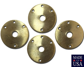 Vintage 4 Hole Raw Brass Circle Connector Link Drops 20mm (6) mtl009A