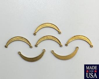 2 Loop Raw Brass Small Crescent Pendant Connectors 20x9mm (6) mtl028