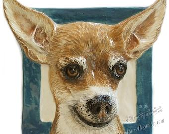 Chihuahua CERAMIC Portrait Sculpture 3D Dog Art Tile Plaque FUNCTIONAL ART by Sondra Alexander