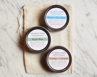 Trio Salve Kit//Natural Salve Skin Care//Orchard Farm Salve