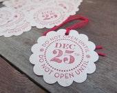 Do Not Open until December 25 Set of 10 Christmas Tags Embellishment. Hostess Gift. Santa.