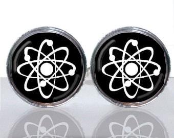 Round Glass Tile Cuff Links - Atomic Symbol Geek Wear CIR113