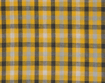 Homespun Fabric | Sewing Fabric | Cotton Fabric | Quilt Fabric | Home Decor Fabric | Check Fabric | Yellow White Grey And Charcoal | 29 x 44