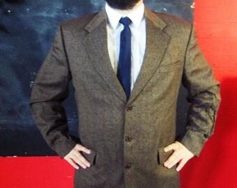 Vintage 1970s Brown  Tweed TWILL Blazer Jacket Medium
