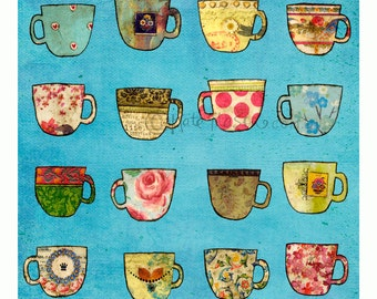 Messy Tea Cups ART PRINT