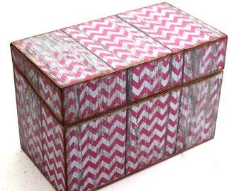 Kitchen Recipe Box Barn Wood with Pink Chevron Wooden Box
