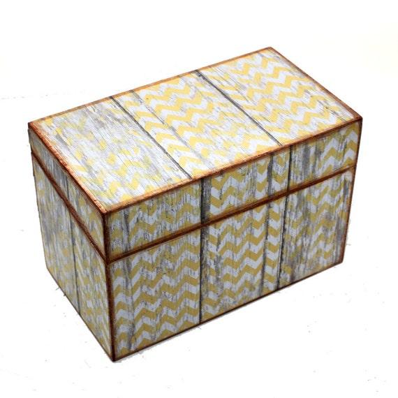 Recipe Box Barn Wood with Yellow Chevron Ready To Ship Fits 4x6 Recipe Cards