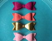 Wool Felt Bows - Small Emily Bow - Spring Fling Featuring Gold Metallic Felt - Set of 10