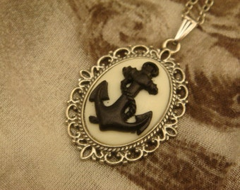 Black and White Navy Anchor Cameo Necklace