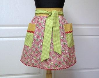 Womens Retro Half Apron, Modern Chic Cute Kitchen Waist Aprons - SALE