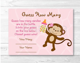 Safari Girl Monkey Guess How Many Baby Shower Game INSTANT DOWNLOAD