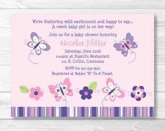 Pink & Purple Butterfly Baby Shower Invitation PRINTABLE