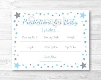 Cute Twinkle Star Predictions For Baby Game / Twinkle Star Baby Shower / Baby Blue & Grey / Baby Predictions Game / INSTANT DOWNLOAD A369