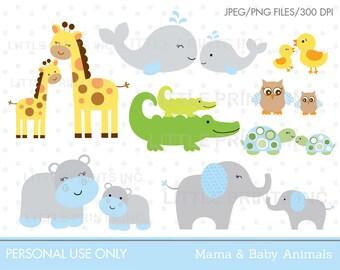 Jungle Animal Clipart / Safari Animal Clipart / Safari Baby Shower / Blue Jungle Animals / Mom & Baby Animals / INSTANT DOWNLOAD