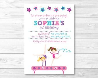 Gymnastics Birthday Invitation / Girl Gymnastics Birthday Invitation / Gymnastics Birthday Party / Gymnastics Birthday Invite / PRINTABLE