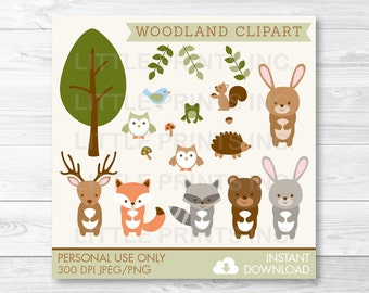 Woodland Forest Animal Clipart Clip Art Fox Deer Bear Owl Raccoon Rabbit Frog Hedgehog Squirrel PERSONAL USE Instant Download