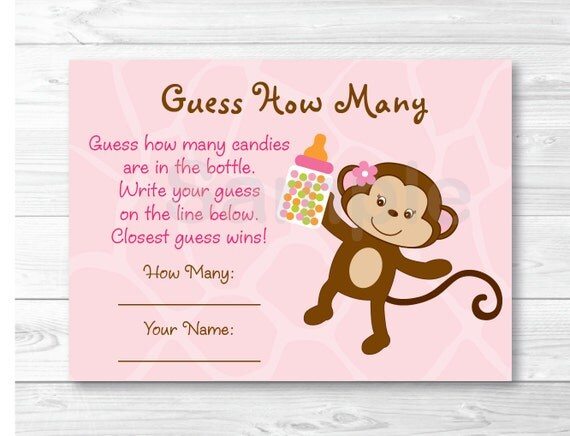 Pink Monkey Guess How Many Baby Shower Game Monkey Baby Shower