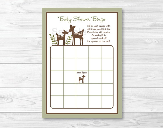 Cute Deer Baby Shower Bingo Game Deer Baby Shower Woodland Baby